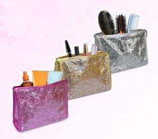 SHINE – Neceser impermeable con exterior de purpurina (20 x 15 x 6 cm)