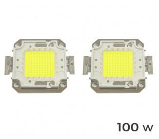 (Pack de 2) Placa LED de sustitución para focos de luz BLANCA FRÍA 6500 k en 10 – 20 – 30 - 50 ó 100 vatios