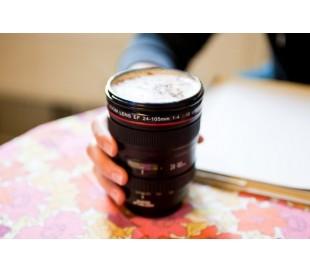 Taza para café o refresco en forma de objetivo de cámara REFLEX