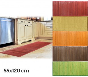 028496 Alfombra de bambú 120 x 55 cm / Base antideslizante – Decoración del hogar