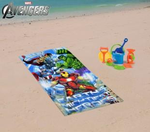 MV92260 Toalla infantil de playa con motivo de LOS VENGADORES (70 x 140 cm / 100% algodón)