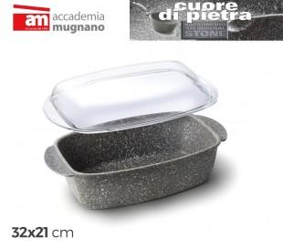 CPRST32 Bandeja para asar comidas 32 x 21 cm (incluye tapa de vidrio)