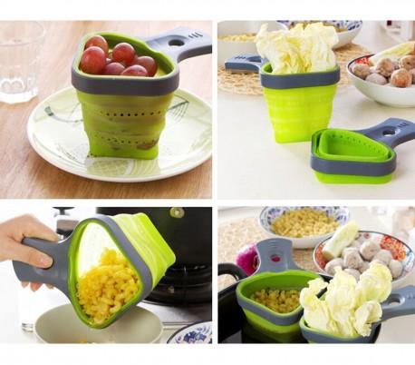 703419 Set de 2 coladores de silicona plegables para pasta (color verde)