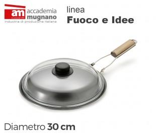 FISPD30 Sartén con tapa vidrio 30 cm alumino puro Linea FUOCO &
