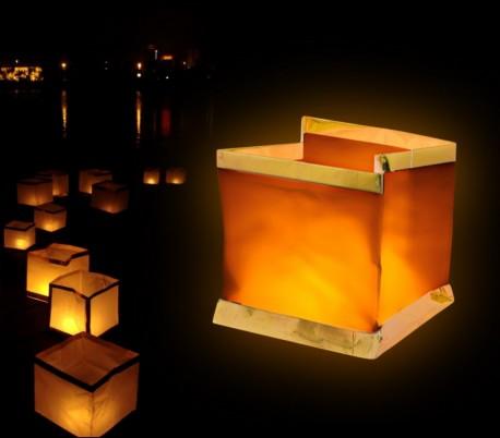747012 Pack de 5 linternas de cielo en forma CUADRADA (velas incluidas)