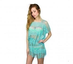A04 Vestido con flecos para la playa mod. Melissa (efecto ganchillo)