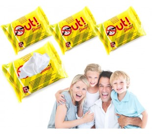 Paquete de 45 toallitas impregnadas de citronela anti-mosquito
