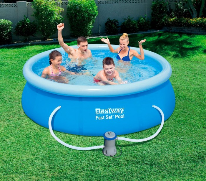 57268 piscina redonda bestway 244 x 66 cm pvc con motor for Piscina bestway redonda