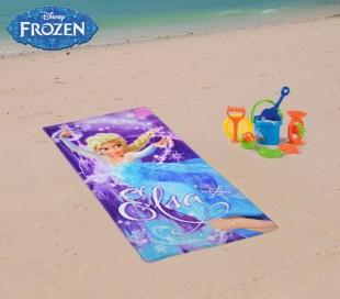 WD16935 Toalla infantil de playa con motivo ELSA FROZEN 70 x 140 cm 100% algodón
