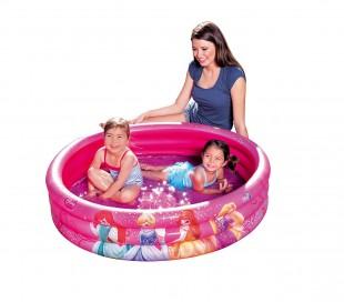 91047 Piscina inflable 122x25 cm princesas de Disney tres anillos de color rosa