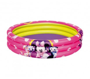 91066 Piscina inflable Minnie 152 x 30 cm tres anillos de color rosa Bestway