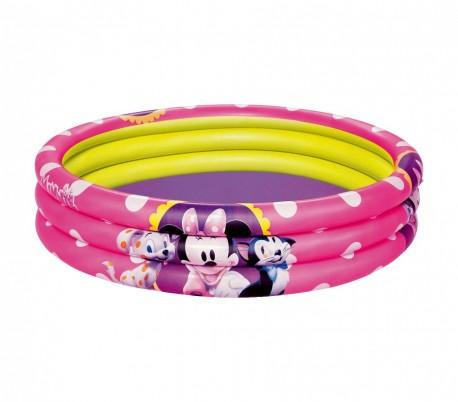 91066 Piscina inflable Minnie 152 x 30 cm tres anillos de color rosa Bestway