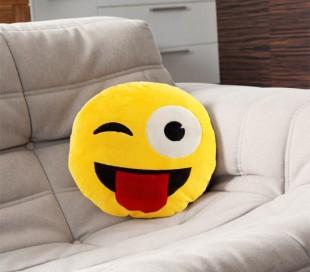 621037 Almohada de emoticono guiño con lengua fuera emoji 30 cm de diametro
