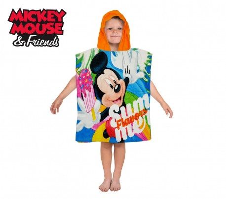 WD16950 Albronoz con capucha de algodón con motivo de Mickey Mouse 120x60 cm